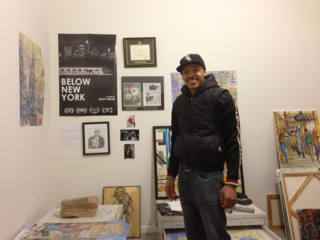 Enrico Miguel Thomas in his Red Hook studio. (all photographs by the author for Hyperallergic)