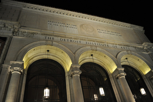 """The inscription of the facade of the Detroit Institute of Arts reads, """"Dedicated by the people of Detroit to the knowledge and enjoyment of art,"""" which at this point is starting to sound cruelly ironic. (image via Flickr/glennia)"""