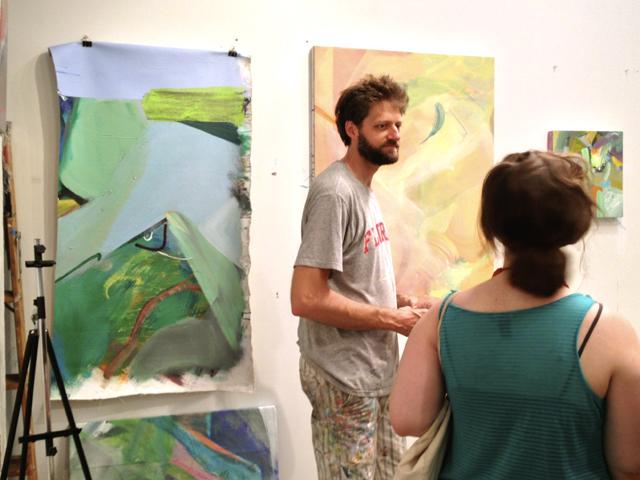 Jsun Laliberté spoke about his paintings at Bushwick Open Studios.