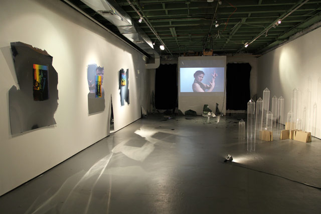 """Christine Laquet, """"CR(I)SES AD(JUST)MENTS (COLLAPSED),"""" installation view at Flux Factory"""