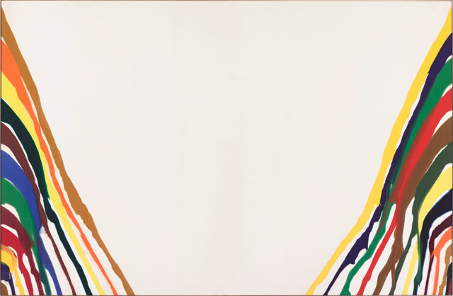 """Morris Louis, """"Beta Alpha"""" (1961), Magna on canvas, 100 x 154 in, at Mitchell-Innes & Nash, New York"""