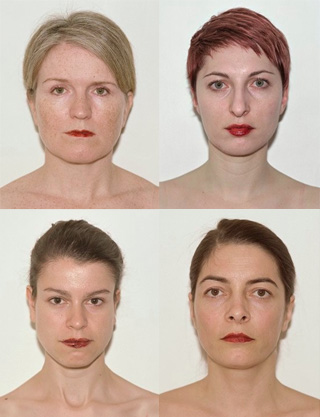 Ingrid Berthon Moine's Red is the colour (2009) series invited women to pose in front of the camera without makeup and were solely presented with menstrual blood on their lips as if it were lipstick. (via ingridberthonmoine.com)
