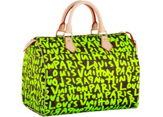 A Louis Vuitton monogram Speedy bag with a Stephen Sprouse print