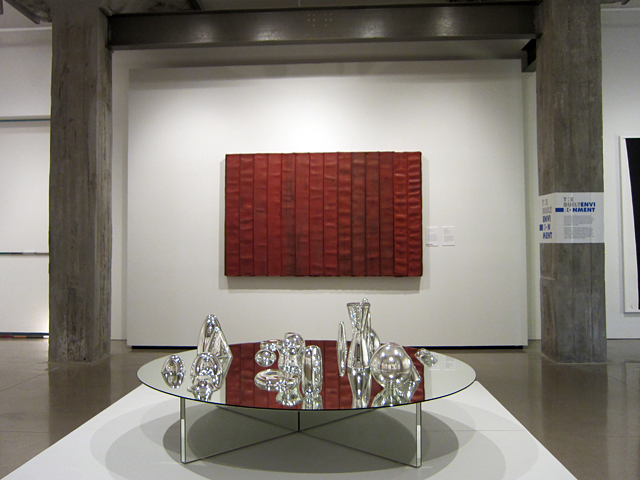 """Theaster Gates, """"Reflections on El Lissitsky"""" (2013), decommissioned fire hose & wood; Josiah McElheny, """"Landscape Model for Total Reflective Abstraction (V)"""" (2004), mirrored glass table with hand blown mirrored glass objects"""