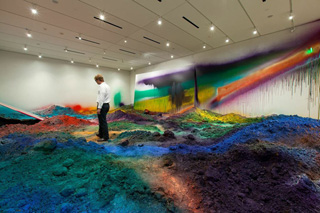 "Installation view, ""Katharina Grosse: WUNDERBLOCK"" at the Nasher Sculpture Center (click to enlarge)"