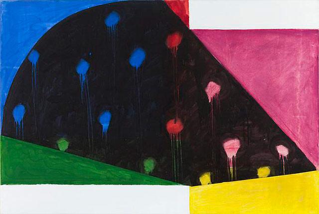 """Mary Heilmann, """"Rio Nido"""" (1987), acrylic and oil on canvas, 39 x 58 in"""