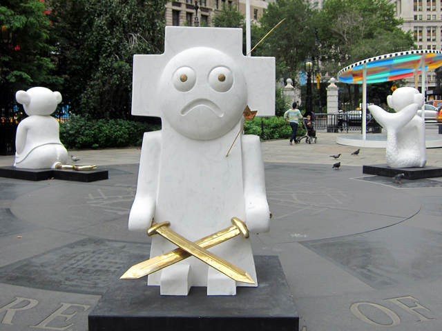 """Olaf Breuning, """"The Humans"""" (2007), marble, bronze six characters cycle of human evolution from fish to fisher king looking comically miserable to whole loop around"""