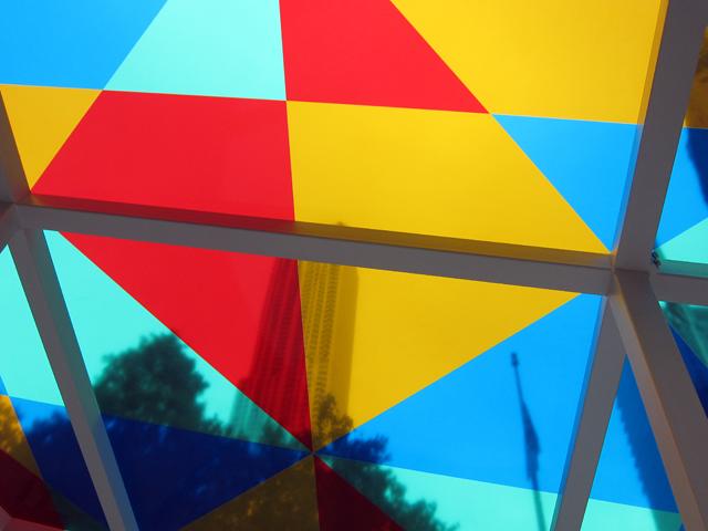 "Inside Daniel Buren's ""Suncatcher"" (2013), powder-coated steel, glass, vinyl"