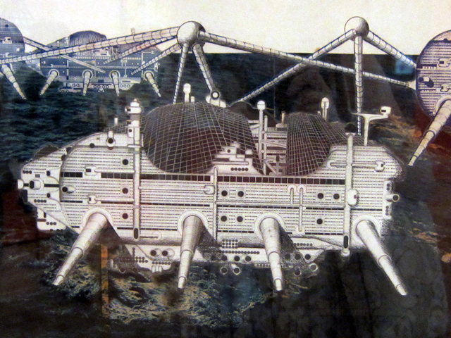 "Ron Herron, ""Walking City on the Ocean"" (1966), cut-and-pasted printed and photographic paper and graphite covered with polymer sheet. technological utopianism, miliatary submarines with legs, urban rsources inside. circulate idea and propose new architecture. surreal."