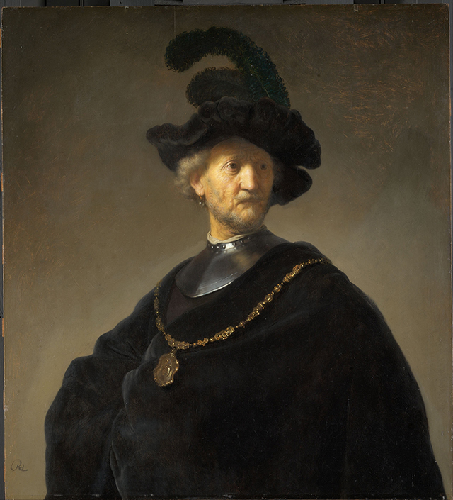 """Rembrandt, """"Old Man with a Gold Chain"""" (1631), oil on panel (via Wikimedia)"""