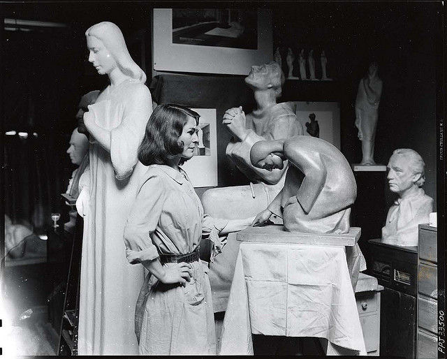 Sculptor Betti Richard in her studio (photograph by Peter A. Juley & Son, via Smithsonian Institution)