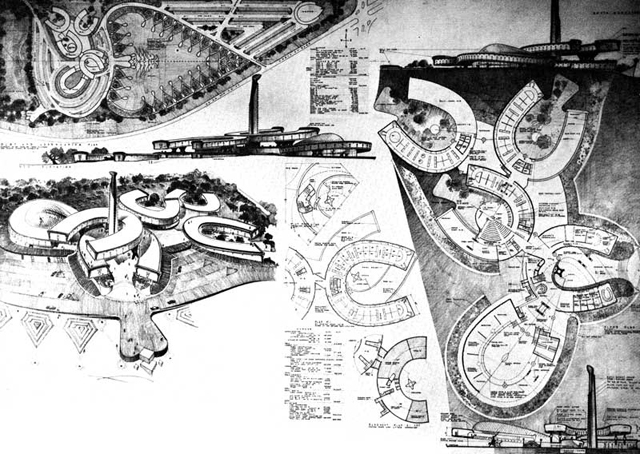 Bruce Goff's 1960 design for the Cowboy Hall of Fame (via Arquelogía del Futuro)