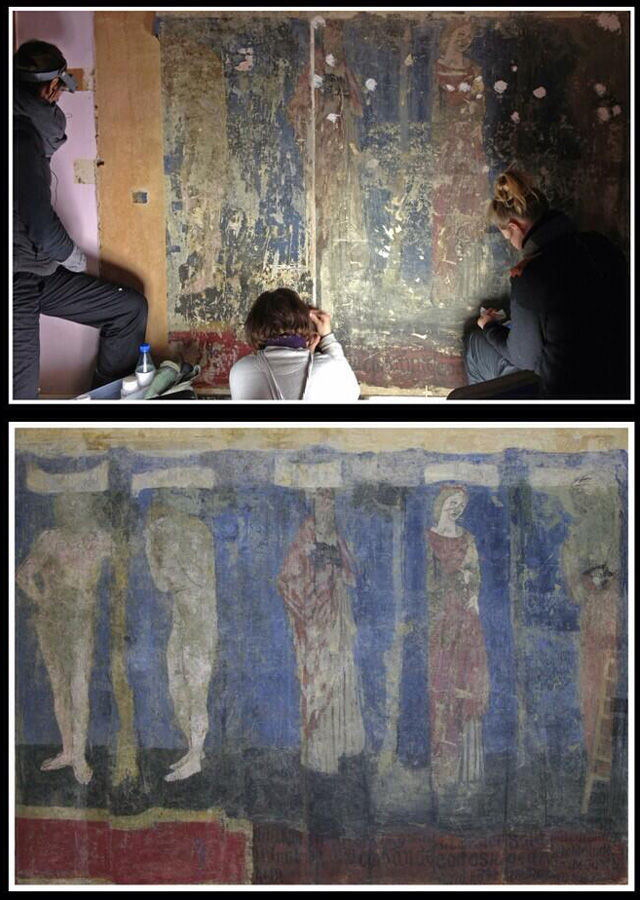 The mural before and after conservation