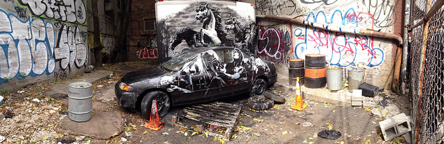 The new Banksy on Ludlow Street (photo by the author for Hyperallergic)(click to enlarge)