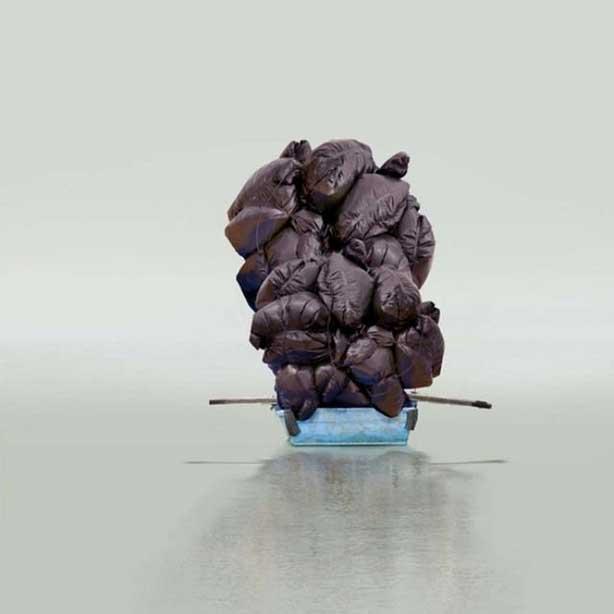 "Mary Mattingly, ""Floating a Boulder"" (2012), chromogenic dye coupler print (via artsy.net)"