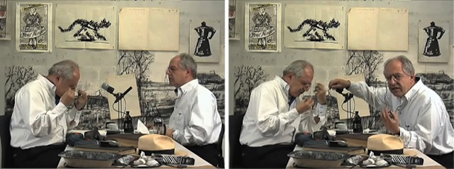 "William Kentridge Interviews Himself: two stills from William Kentridge, Drawing Lesson 47 (Interview for New York Studio School), 2010. Video, 4'48"". Courtesy of Marian Goodman Gallery."