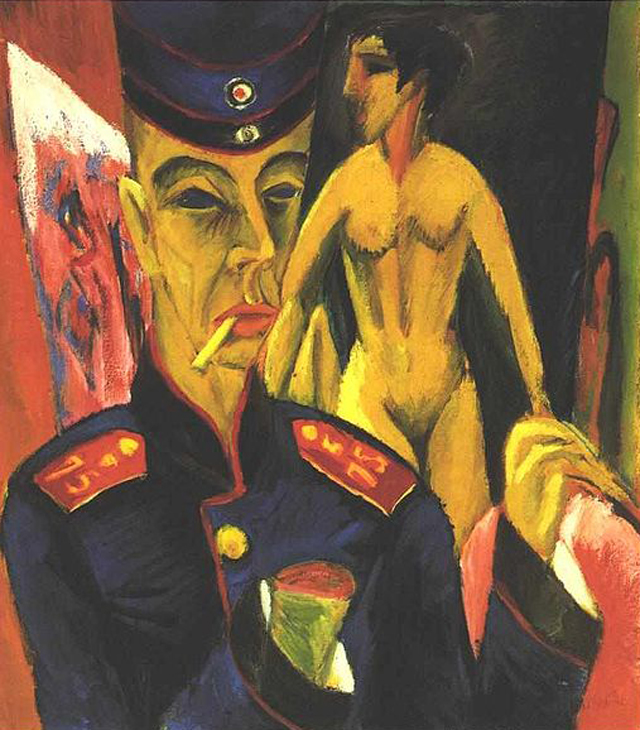 "Ernst Ludwig Kirchner, ""Self-portrait as a Soldier"" (1915), oil on canvas (not destroyed, held in the collection of the Allen Memorial Art Musem at Oberlin College) (via Wikimedia)"