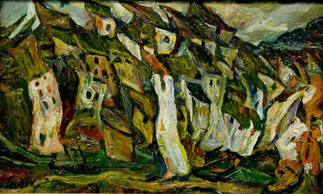 """Chaim Soutine (1893 - 1943), """"The Houses"""" (Les Maisons), oil on canvas, 1921, Musée de l'Orangerie, Paris"""