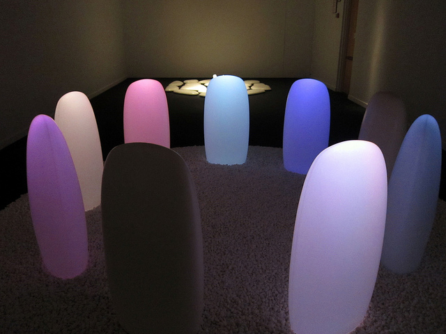 "Mariko Mori, ""Transcircle 1.1"" (2004), stone, corian, LED, real-time control system"
