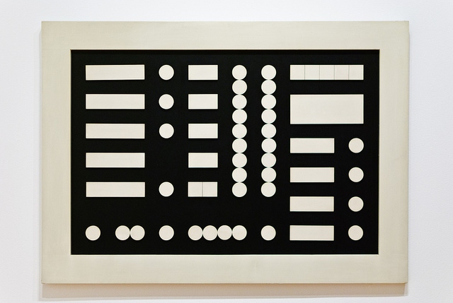 Sophie Taeuber-Arp, Schematic Composition, 1933. Oil and wood on composition board