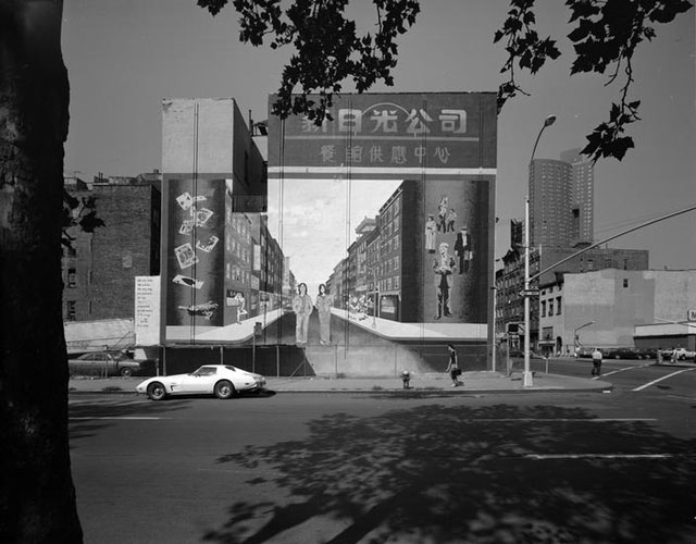 "Edmund V. Gillon [""Chinatown Today"" mural by Alan Okada on Pike Street.] (c. 1978), polyester negative, 4 x 5 in"