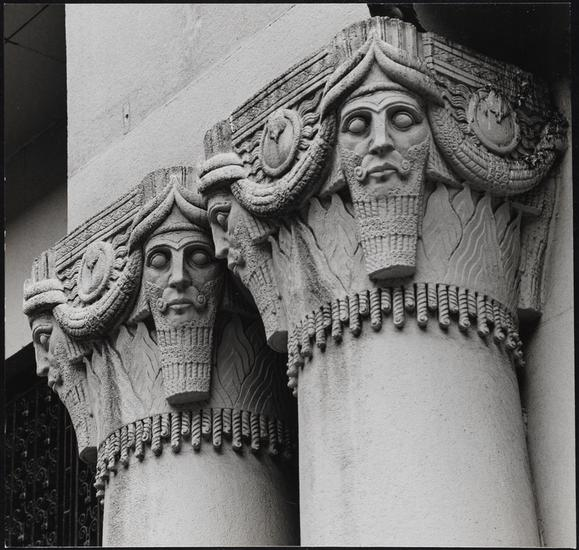 Edmund V. Gillon [Entrance detail on the Pythian Temple.] (1970–2000), gelatin silver print. 7 x 7 1/4 in