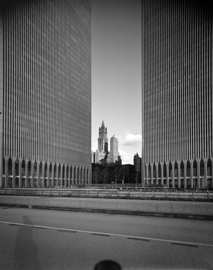 Edmund V. Gillon, [Looking northeast from the base of the Twin Towers of the World Trade Center.] (c. 1977), polyester negative, 5 x 4 in