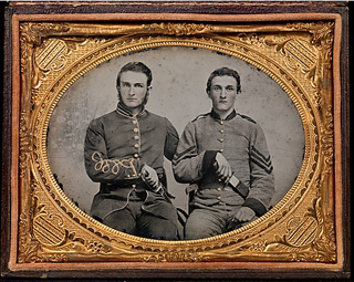 """[Captain Charles A. and Sergeant John M. Hawkins, Company E, """"Tom Cobb Infantry,"""" Thirty-eighth Regiment, Georgia Volunteer Infantry] by unknown photographer (via Metropolitan Museum, David Wynn Vaughan Collection)"""