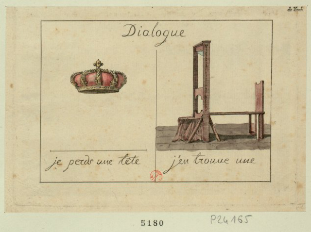 "Crown: ""I lost a head""; Guillotine: ""I've found one"" (1793) (via French Revolution Digital Archive)"