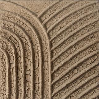 "Marcos Grigorian, ""Crossroads (Earthwork)"" (1975), dried earth on canvas. 48 x 48 in. (121.9 x 121.9 cm), collection of Cleopatra Birrenbach and Thomas Birrenbach. (via Asia Society)"