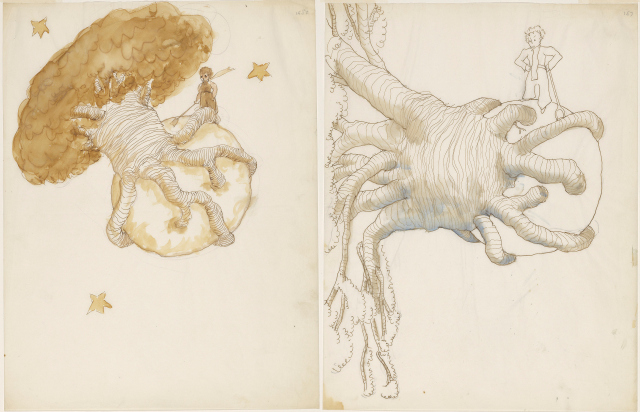 """Antoine de Saint-Exupéry, """"Drawing for The Little Prince,"""" The Morgan Library & Museum, New York © Estate of Antoine de Saint-Exupéry (photographed by Graham S. Haber, 2013)"""