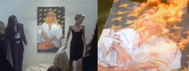 """The painting the video crew commissioned from Richard Jacobs, and appears in the """"Girl I'm Gonna Miss You"""" video, and later is burned. (screenshots by the author)"""