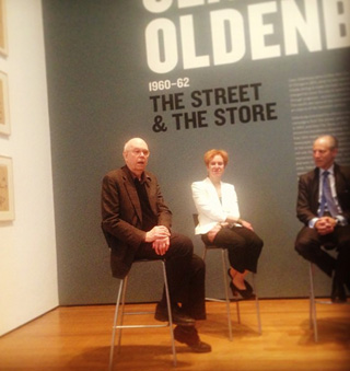 Artist Claes Oldenburg discussing his The Street and The Store during the press preview at the Museum of Modern Art (photo by the author for Hyperallergic)