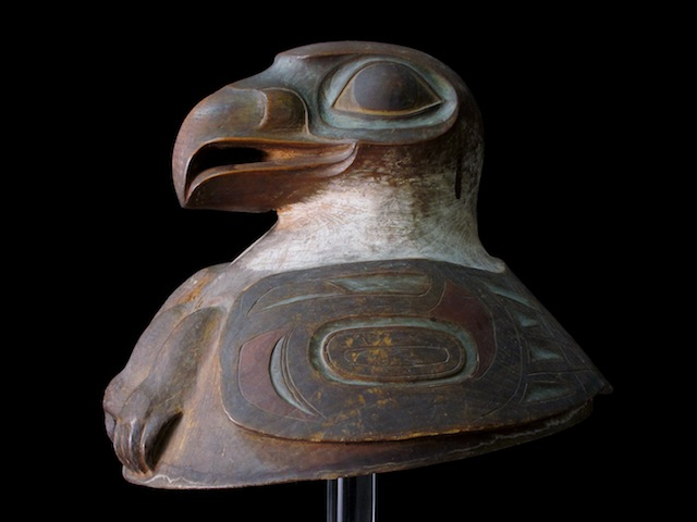 Tlingit Helmet discovered last year in the archives of the Springfield Science Museum (courtesy Springfield Science Museum)