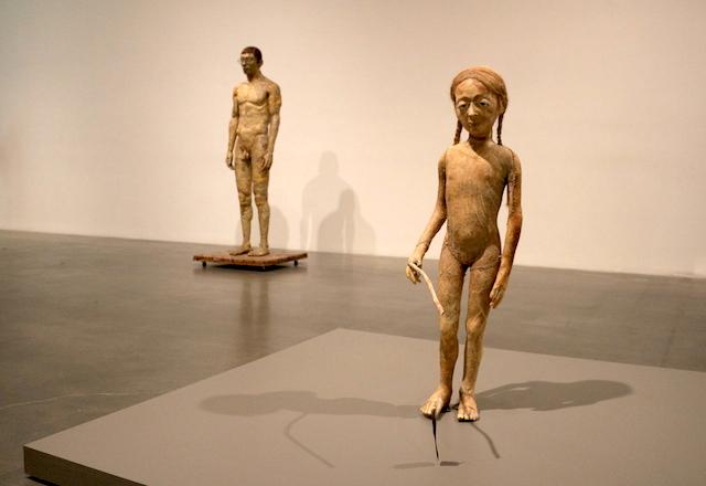 """Paweł Althamer, """"Weronika"""" (2001), fore, and """"Self Potrait"""" (1993), back"""
