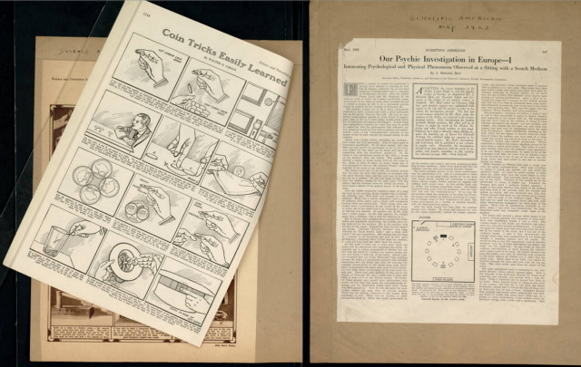 Houdini's scrapbook on spiritualism, magic tricks, & articles from Scientific American (1922-24)