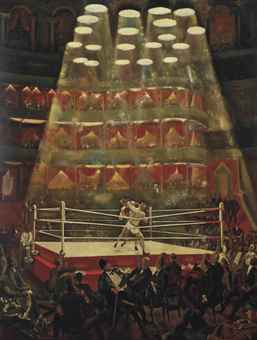 """Alfred Reginald Thomson's """"The London Amateur Boxing Championship Held at the Royal Albert Hall"""" (1948) won a gold medal in 1948. (via christies.com)"""