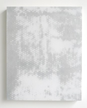 """Carrie Yamaoka, """"20 by 16"""" (2013), reflective mylar, urethane resin, and mixed media on wood panel, 20 x 16 in"""
