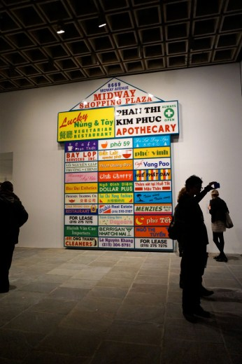 "Ken Lum, ""Midway Shopping Plaza"" (2014), powder-coated aluminum and enameled plexiglass (click to enlarge)"