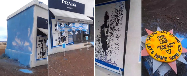 Scenes of the Prada Marfa vandalism (screenshots via YouTube)