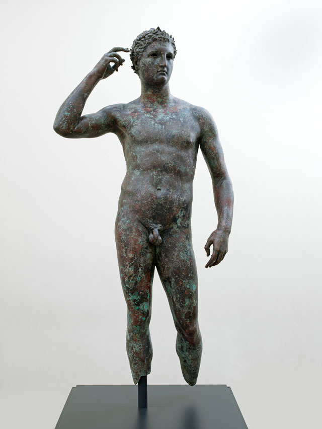 "This sculpture by an unknown artist, ""Victorious Youth"" (300–100 BCE), bronze with inlaid copper, 59 5/8 x 27 9/16 x 11 in (151.5 x 70 x 27.9 cm), currently on view at the Getty Villa Malibu, is the subject of a current repatriation claim by Greece (The J. Paul Getty Museum, Villa Collection, Malibu, California)"