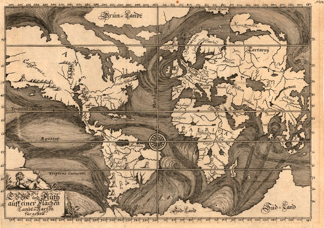 Early Ocean Currents, Eberhard Werner Happel, Die Ebbe und Fluth auff einer Flachen Landt-Karten fürgestelt. Ulm, 1685   Download file( .JPG, 5.3MB ) This unusual map of 1685 illustrates ocean currents as understood at the time based on the observations of explorers and mariners. Though necessarily conjectural in many ways, it highlights the remarkable effort made by early cartographers to make sense of an accumulation of data from such reports without the visualisation tools we have today.