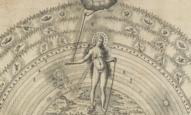 Great Chain of Being, Robert Fludd, Utriusque Cosmi majoris scilicet et minoris ... Oppenheim; Frankfurt, 1617   Download file( .JPG, 2.1MB ) The 'Great Chain of Being' is an ancient Greek concept that classifies life on earth into a hierarchical order with respect to the rest of the universe. In this diagram, the oldest exhibit in the exhibition, the chain starts with Sophia, goddess of wisdom, and extends downwards to animals, plants and minerals.