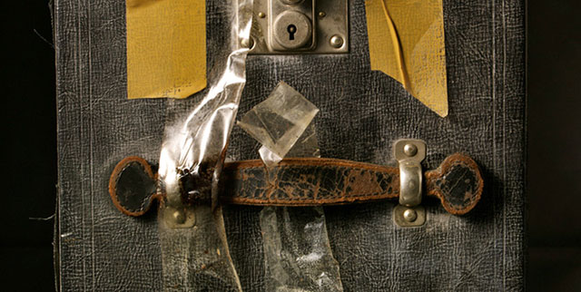 Close-up on a trunk of Maier's that Maloof recovered, still from 'Finding Vivian Maier'