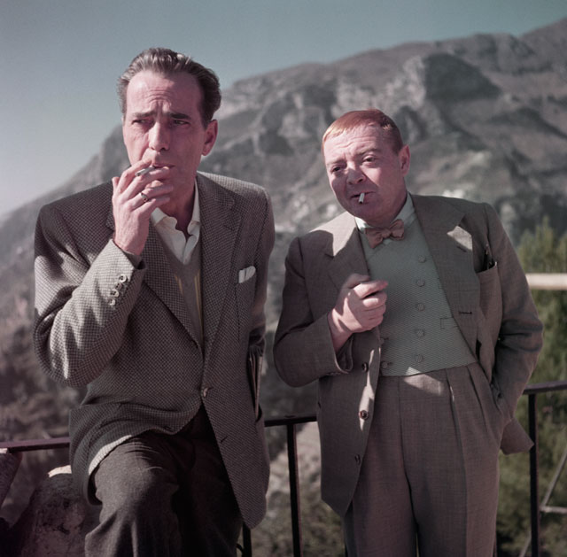 Robert Capa, [Humphrey Bogart and Peter Lorre on the set of Beat the Devil, Ravello, Italy], April 1953 (© Robert Capa / International Center of Photography / Magnum Photos)