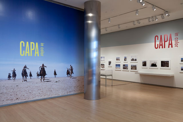 Installation view, 'Capa in Color' at the International Center of Photography (©International Center of Photography, 2014, photo by John Berens)