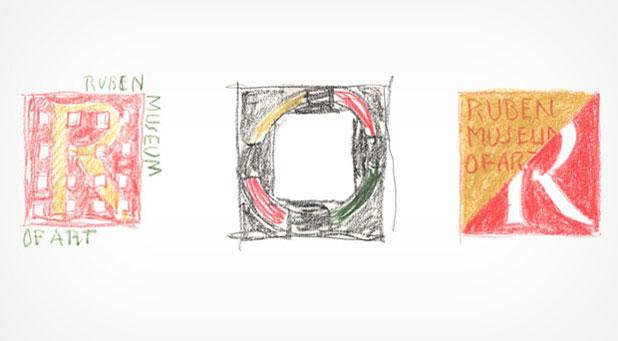 Glaser's sketches for the logo of the Rubin Museum of Art (via miltonglaser.com)
