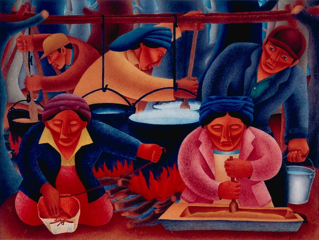 Credit: © 2013 Philbrook Museum of Art, Inc. Tulsa, Oklahoma Patrick DesJarlait (Ojibwe), 1921–72 Maple Sugar Time, 1946 Watercolor on paper Philbrook Museum of Art, Tulsa, Museum Purchase