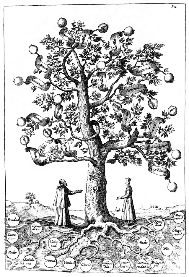 """Tree of Science"" from Ramon Llull's ""Arbol de la ciencia de el iluminado maestro Raymundo Lulio"" (1663)"