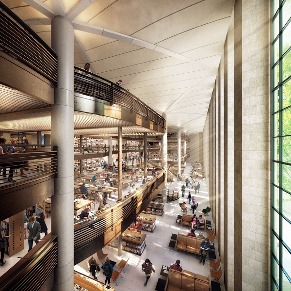 A rendering of Foster+Partners' now scrapped redesign of the New York Public Library's central research building (image via designlike.com)